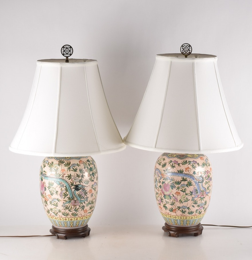 Chinese ceramic table lamps ebth chinese ceramic table lamps geotapseo Images
