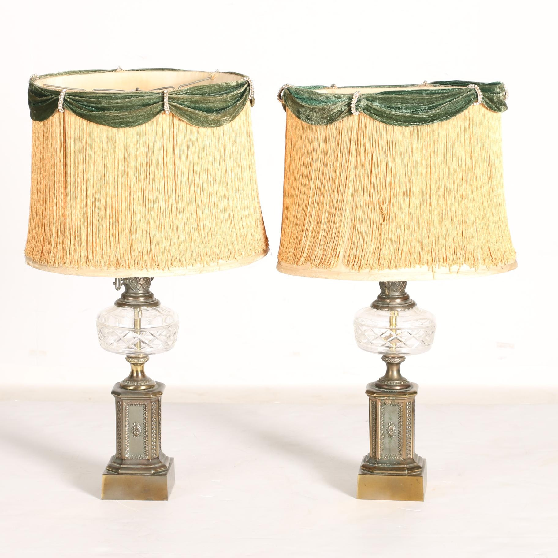 Pair of Cut Crystal Table Lamps