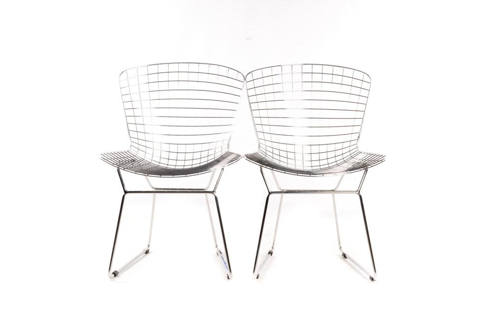 Pair of Mid Century Modern Metal Chairs After Harry Bertoia