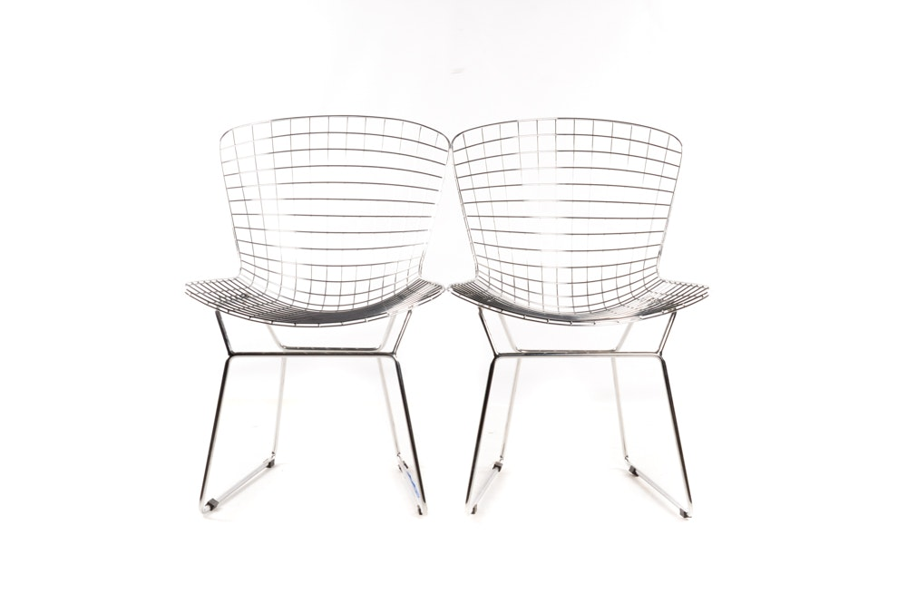 Pair of Mid Century Modern Metal Chairs After Harry Bertoia