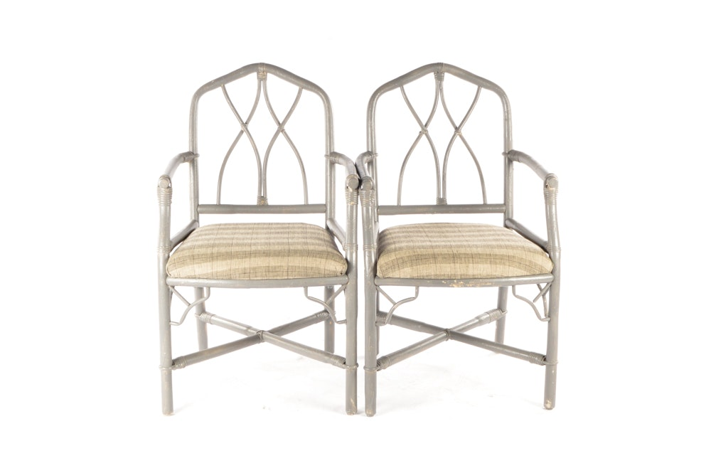 Vintage Rattan Upholstered Accent Arm Chairs