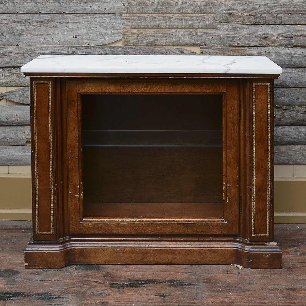 Vintage Console Cabinet With Marble Top
