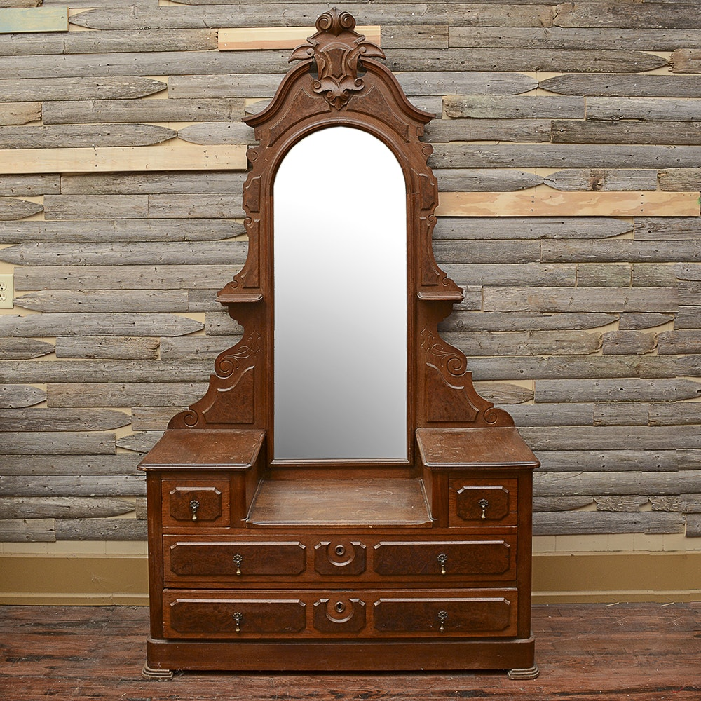 Antique Victorian Style Vanity Dresser With Mirror