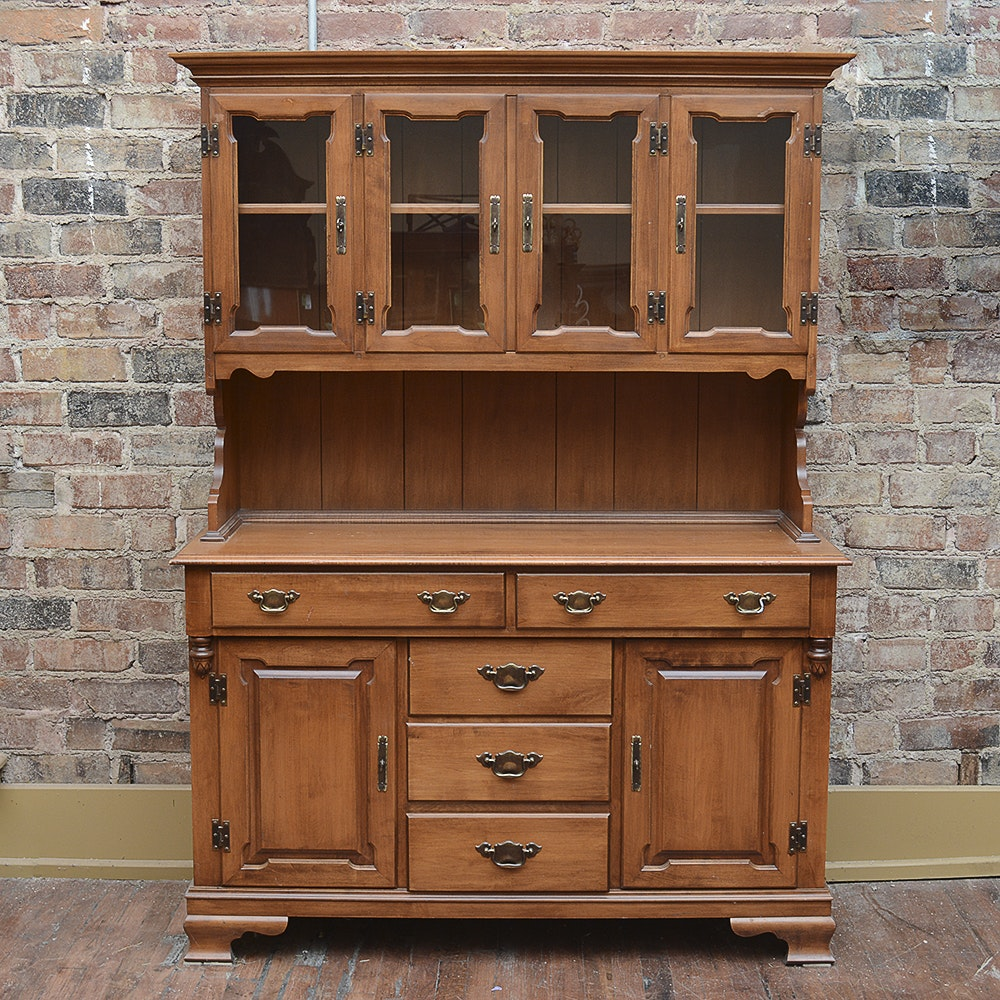 Vintage Tell City Maple Buffet with China Cabinet