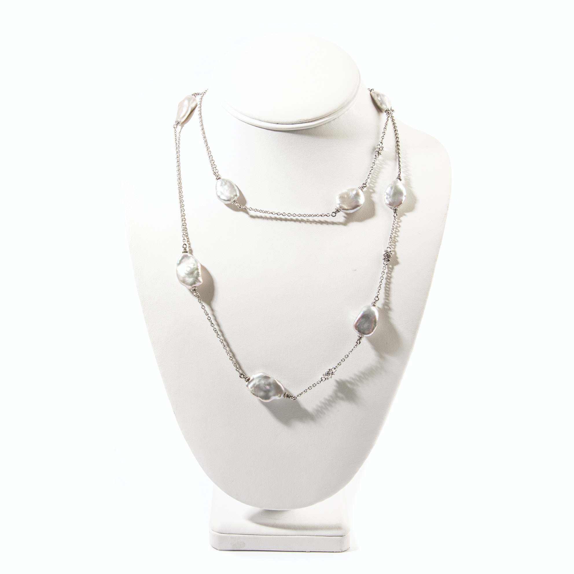 Judith Ripka Sterling Silver Freshwater Pearl and White Sapphire Necklace