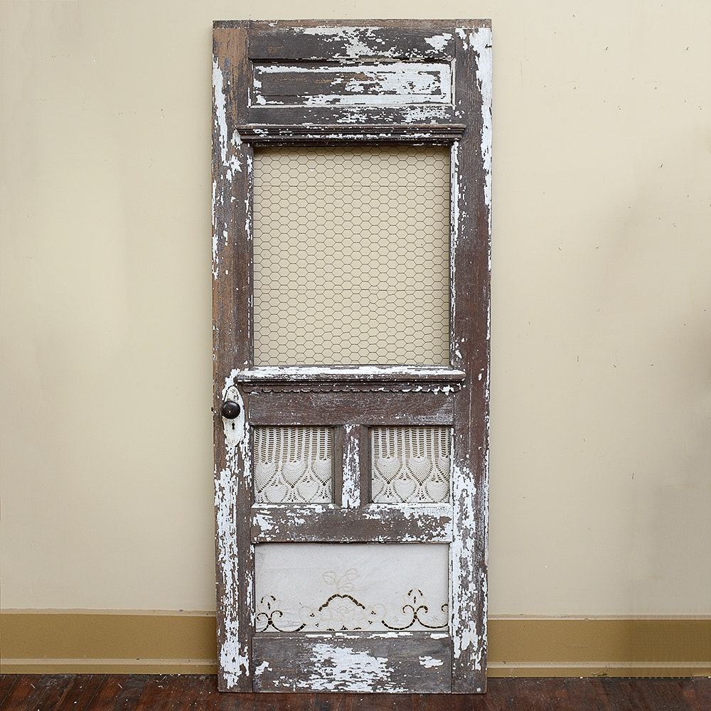 Antique Wood Door Frame with Lace Curtains