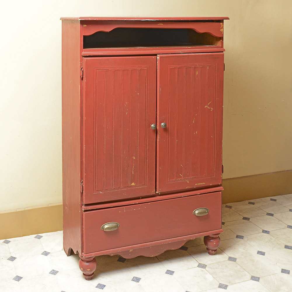 Red-Painted Country-Style Entertainment Cabinet