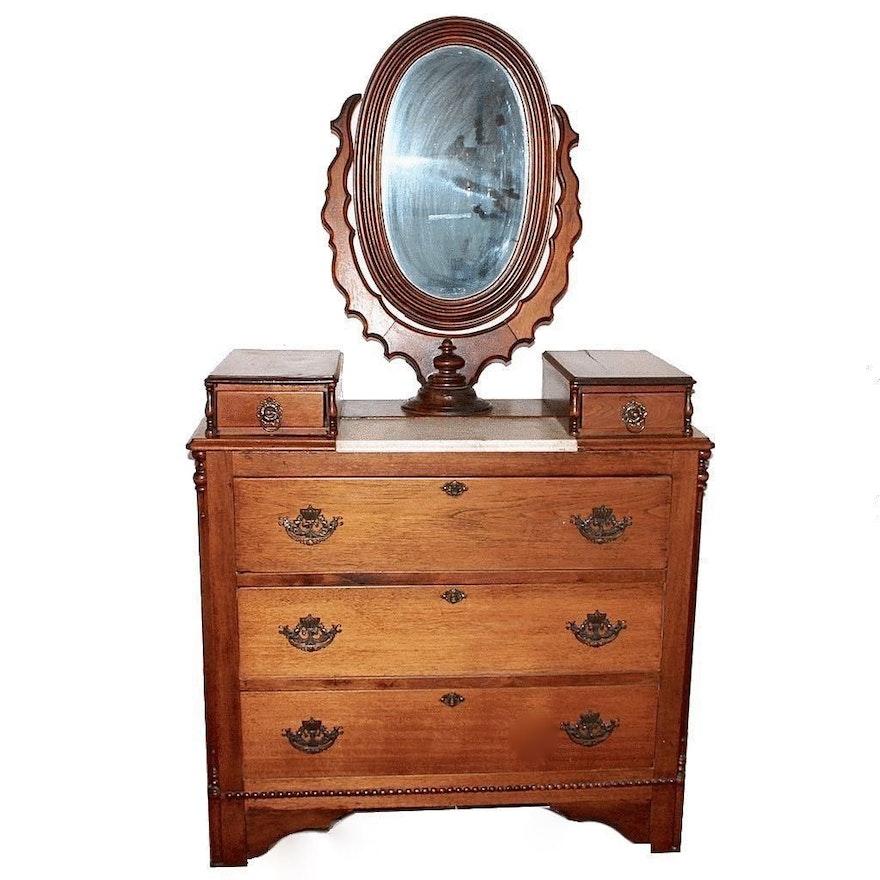 19th Century Victorian Era Marble Top Oak Dresser With
