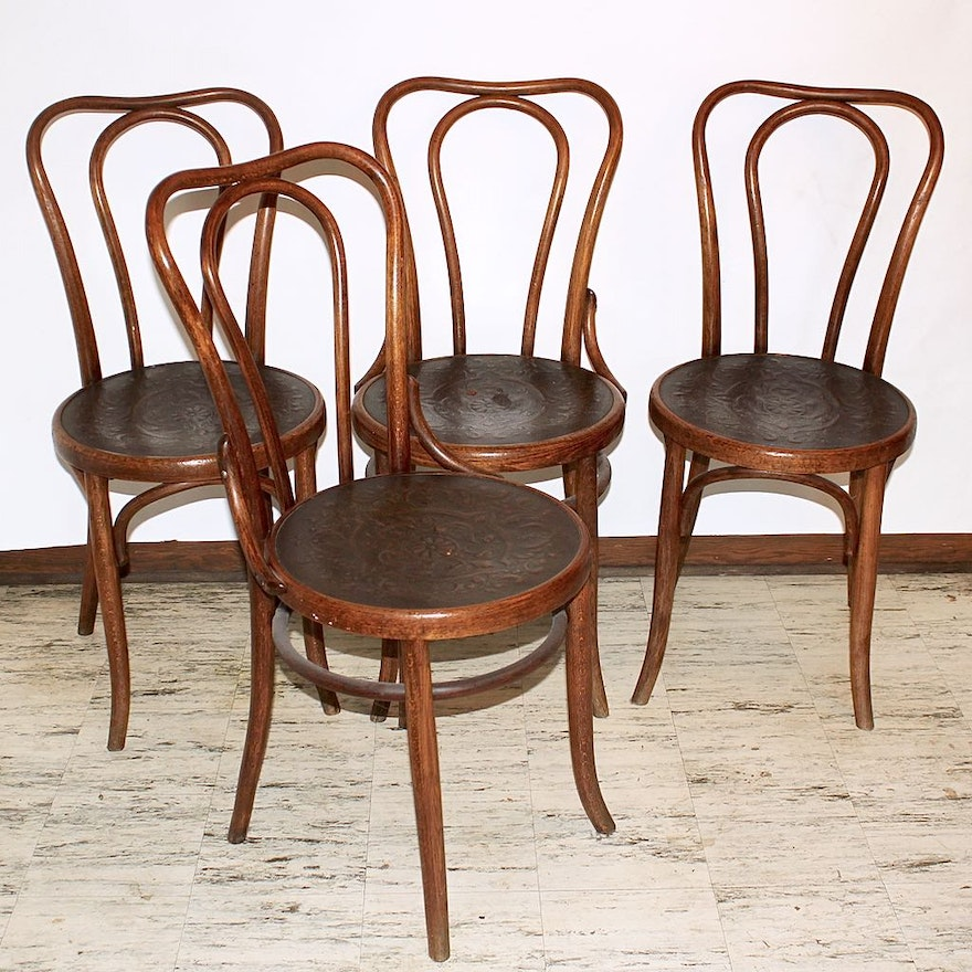 Four Traditional Bentwood Ice Cream Parlor Chairs With Embossed Seats Ebth