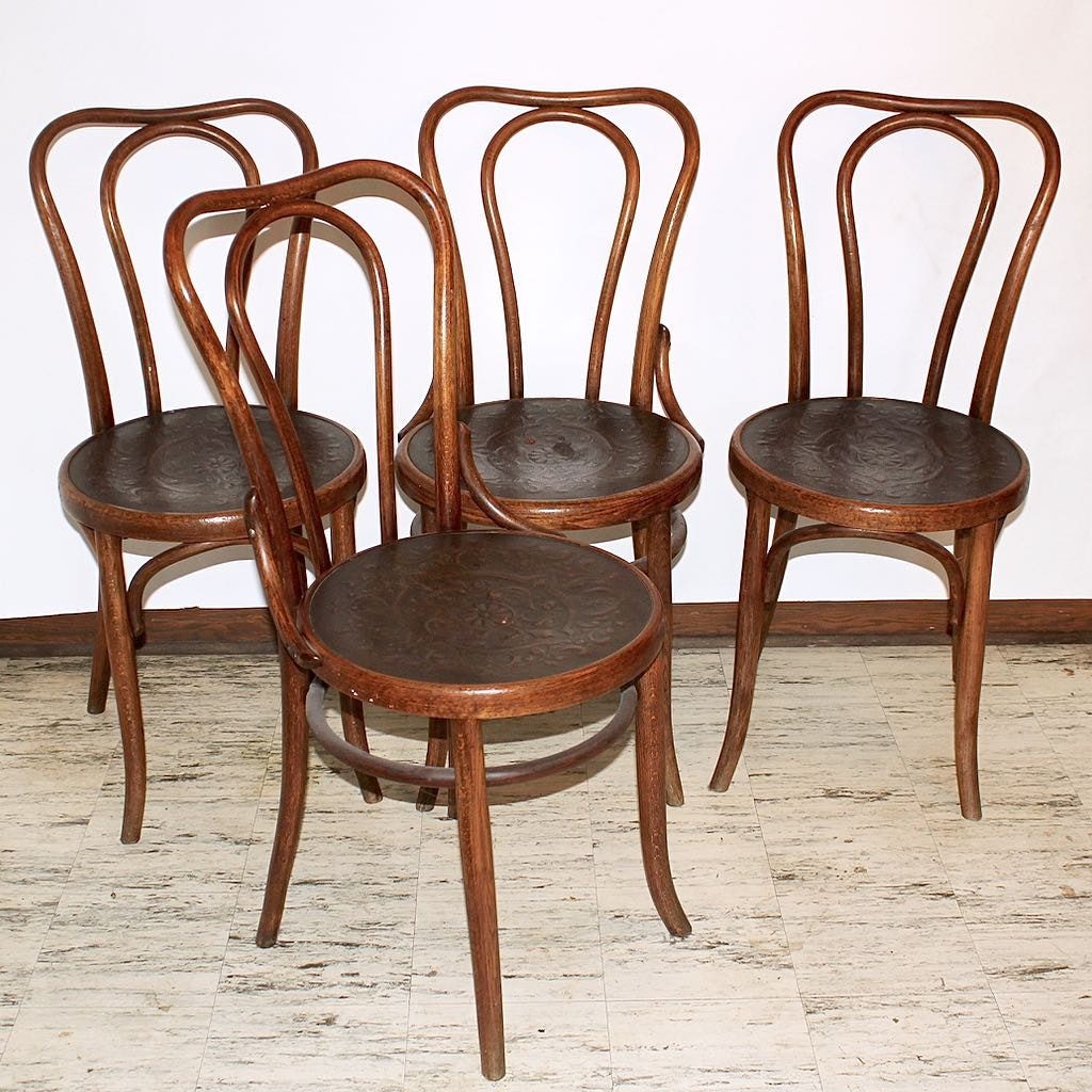 Beau Four Traditional Bentwood Ice Cream Parlor Chairs With Embossed Seats ...