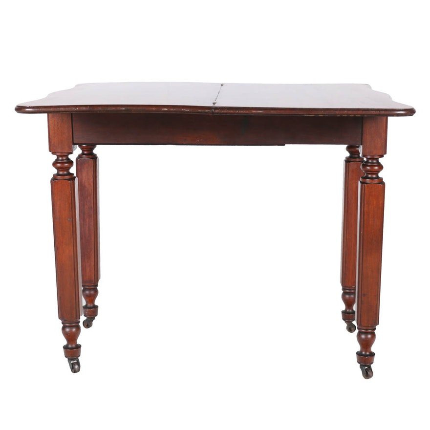 Antique walnut games table with foldover rotating top ebth for Table th rotate