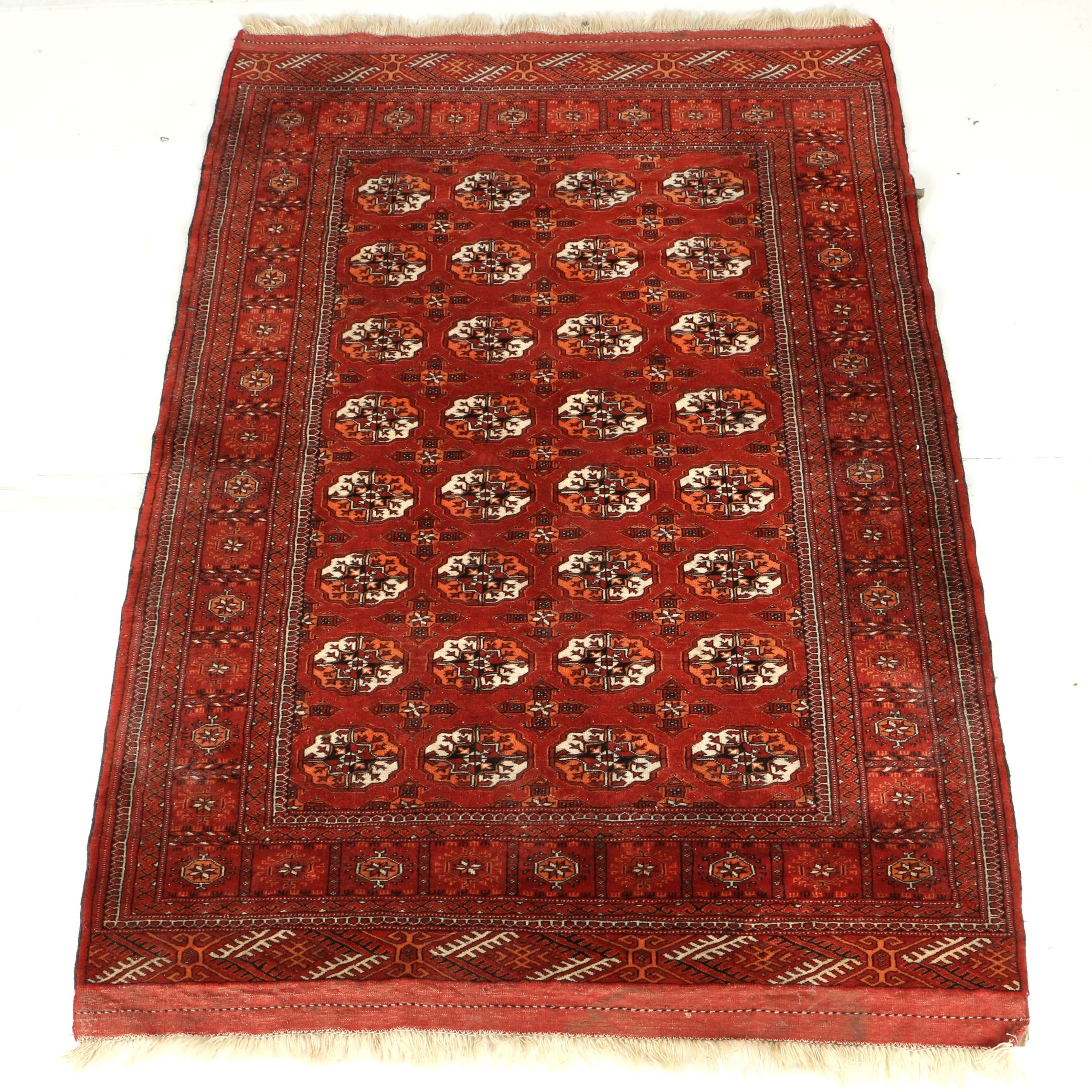 Hand-Knotted Afghan Bokhara Area Rug