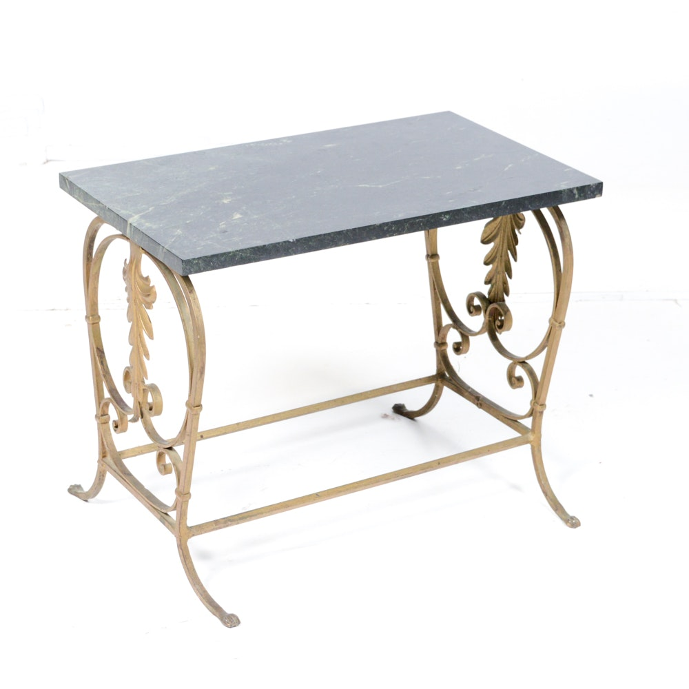 Marble Top Metal Accent Table