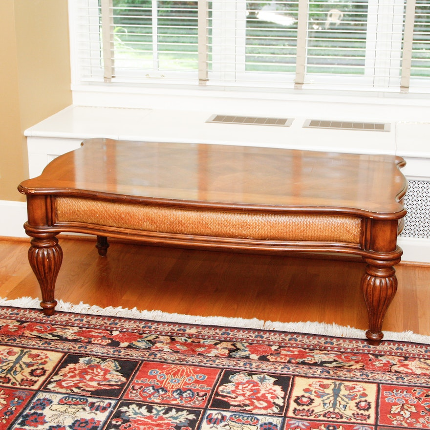 Timber Rattan Coffee Table: Traditional Wood And Rattan Coffee Table