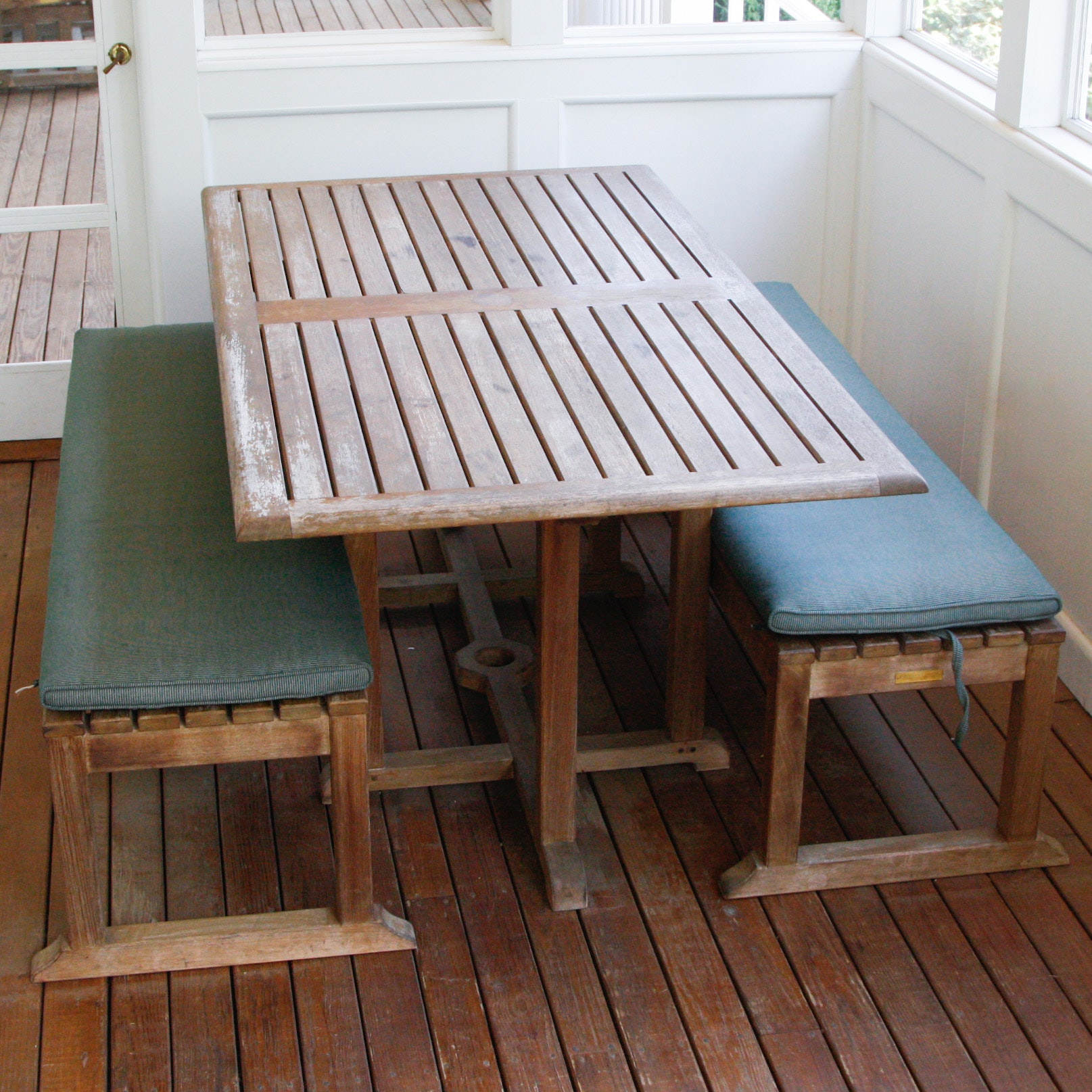 Kingsley Bate Nantucket Teak Patio Dining Table U0026 Two Benches ...