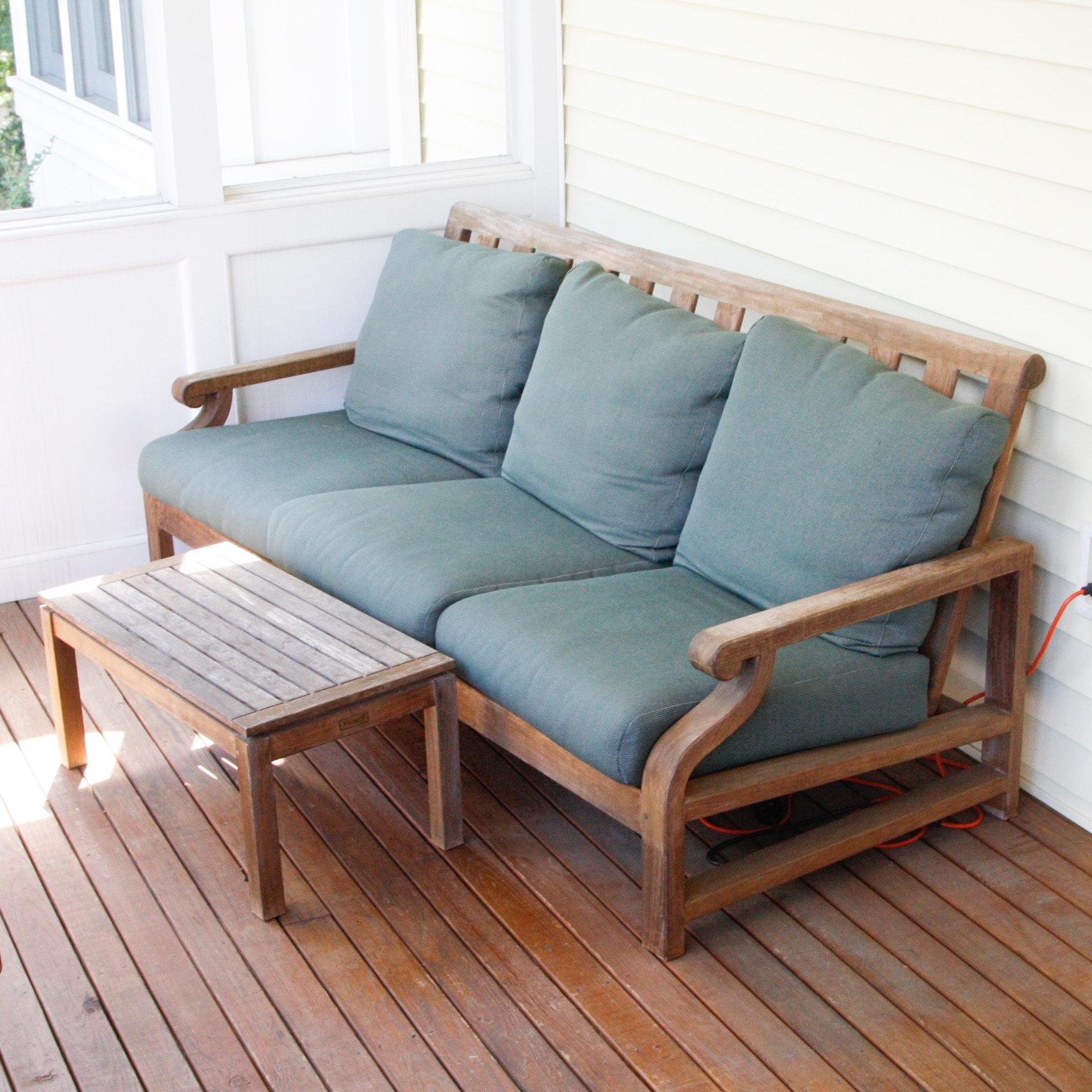 nantucket teak wood sofa with coffee table - Kingsley Bate