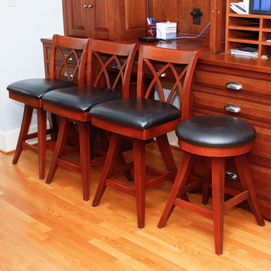 Saloom Furniture Leather Swivel Counter Stools : EBTH