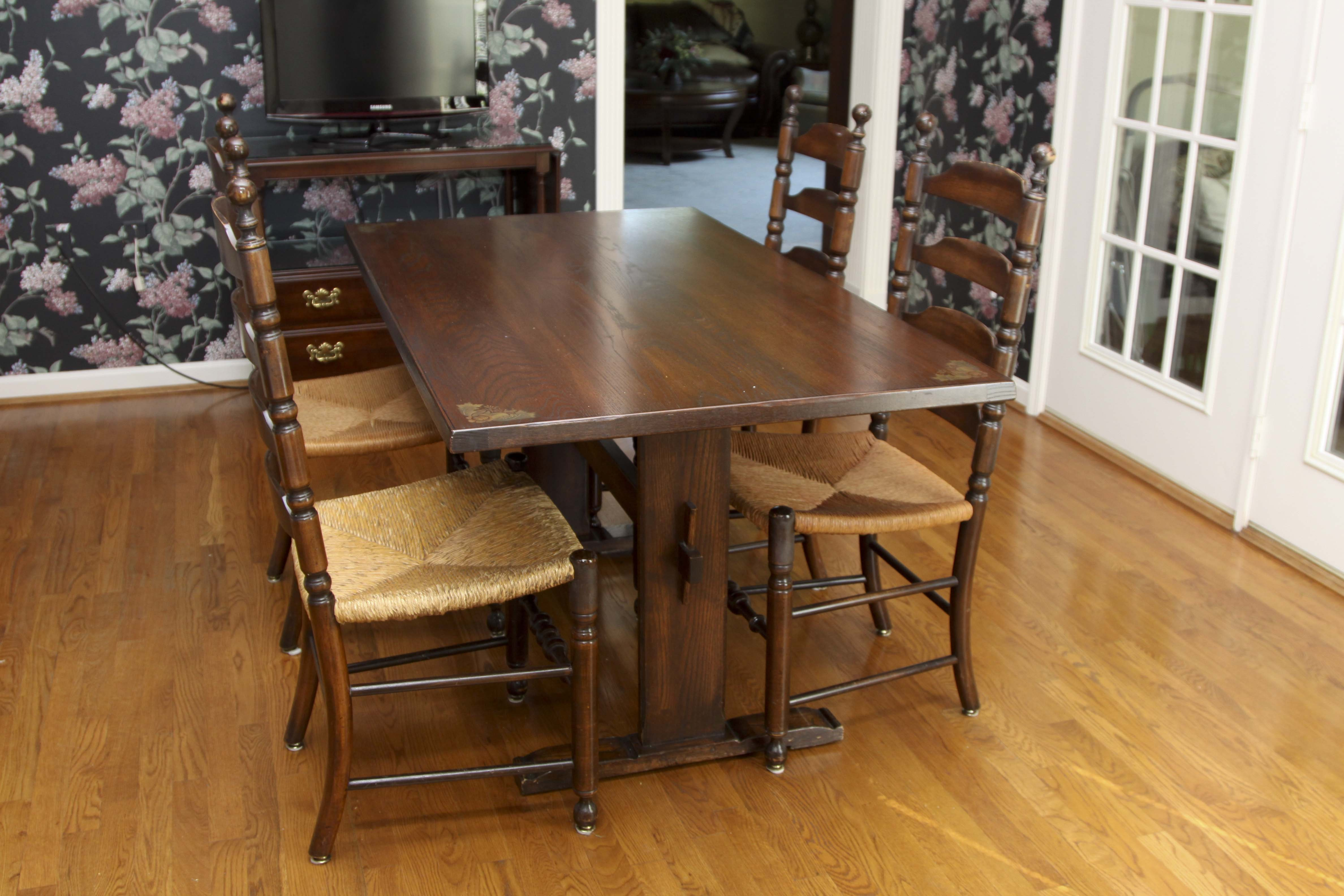 Vintage Trestle Table And Four Ladderback Chairs. Part 98
