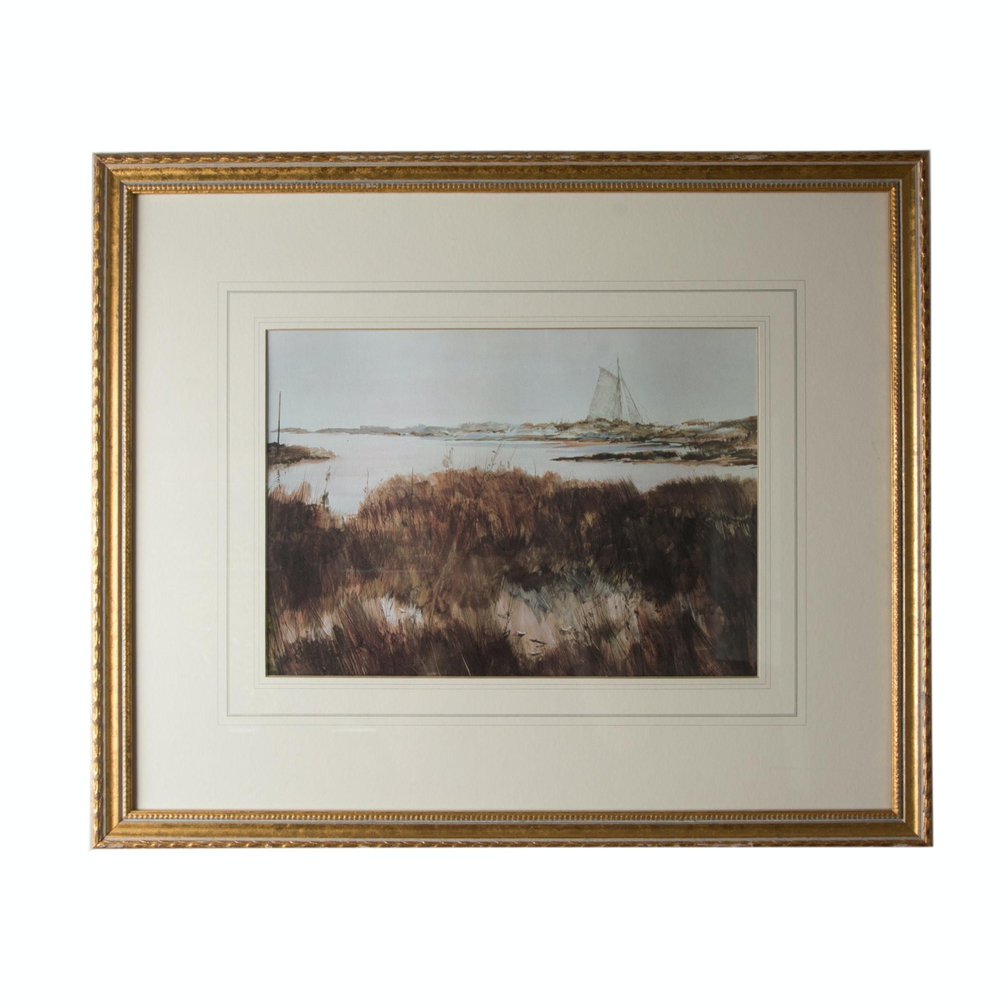 Ocean Landscape Offset Lithograph