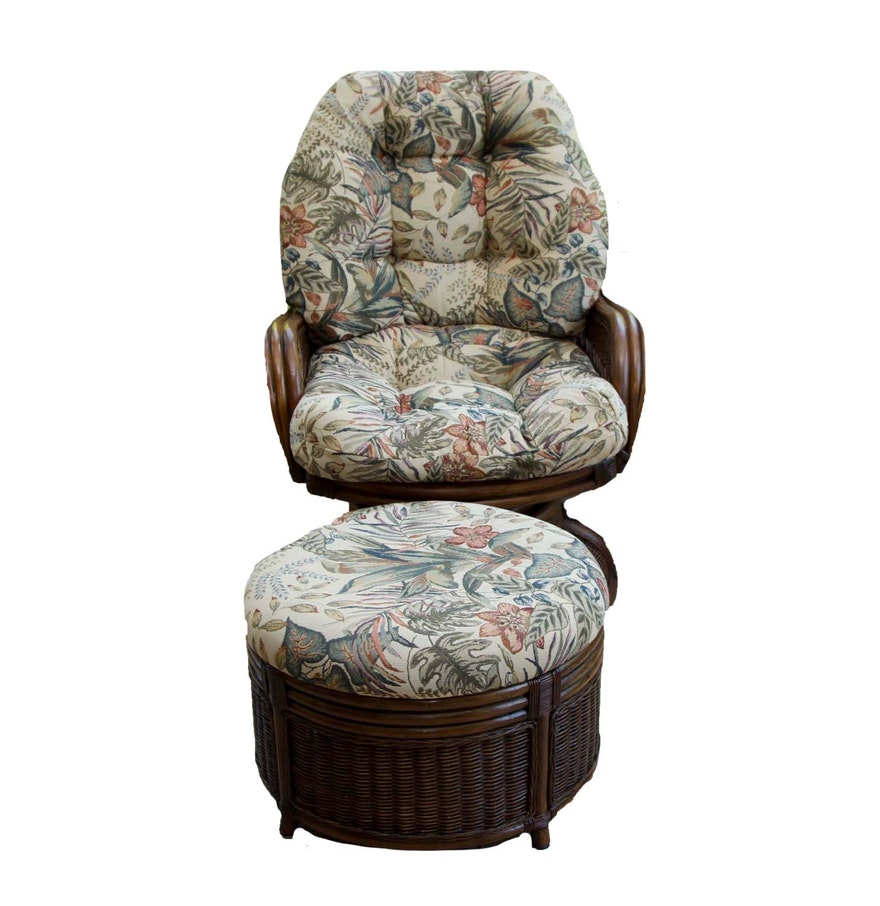 Magnificent Wicker Swivel Arm Chair With Ottoman Pabps2019 Chair Design Images Pabps2019Com