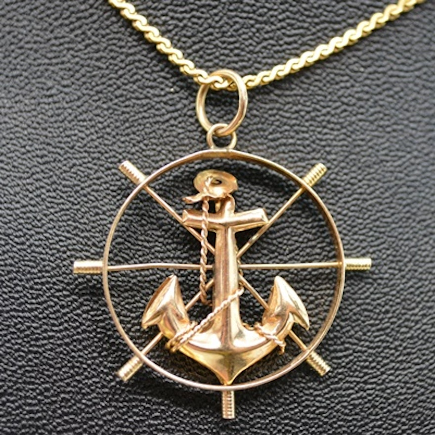 14k yellow gold ships wheel and anchor pendant necklace ebth 14k yellow gold ships wheel and anchor pendant necklace aloadofball Image collections