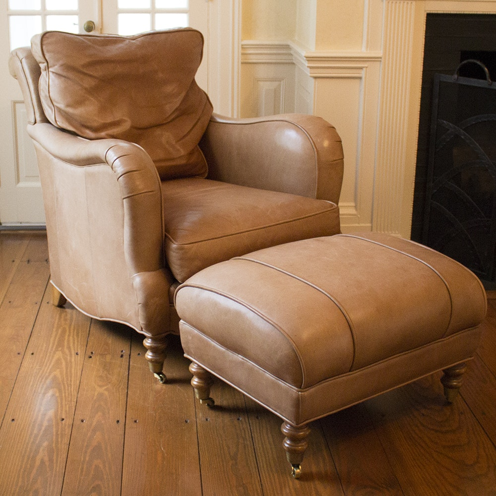 whl company leather chair and ottoman