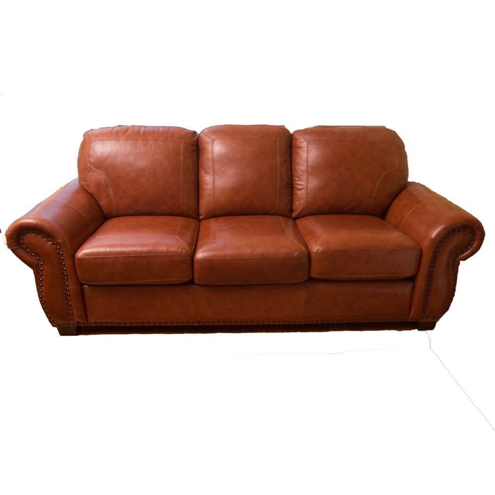 Brown Leather-Upholstered Sofa