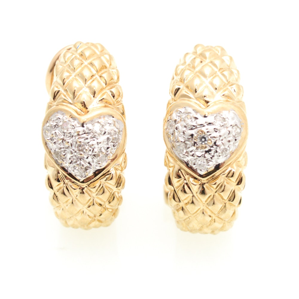 14K Yellow Gold and Diamond Earrings