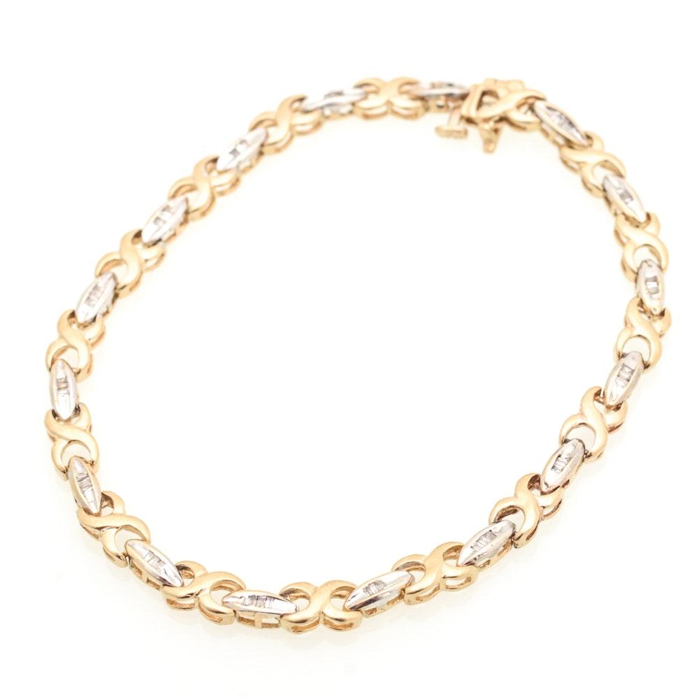 10K Yellow Gold and Diamond Tennis Bracelet