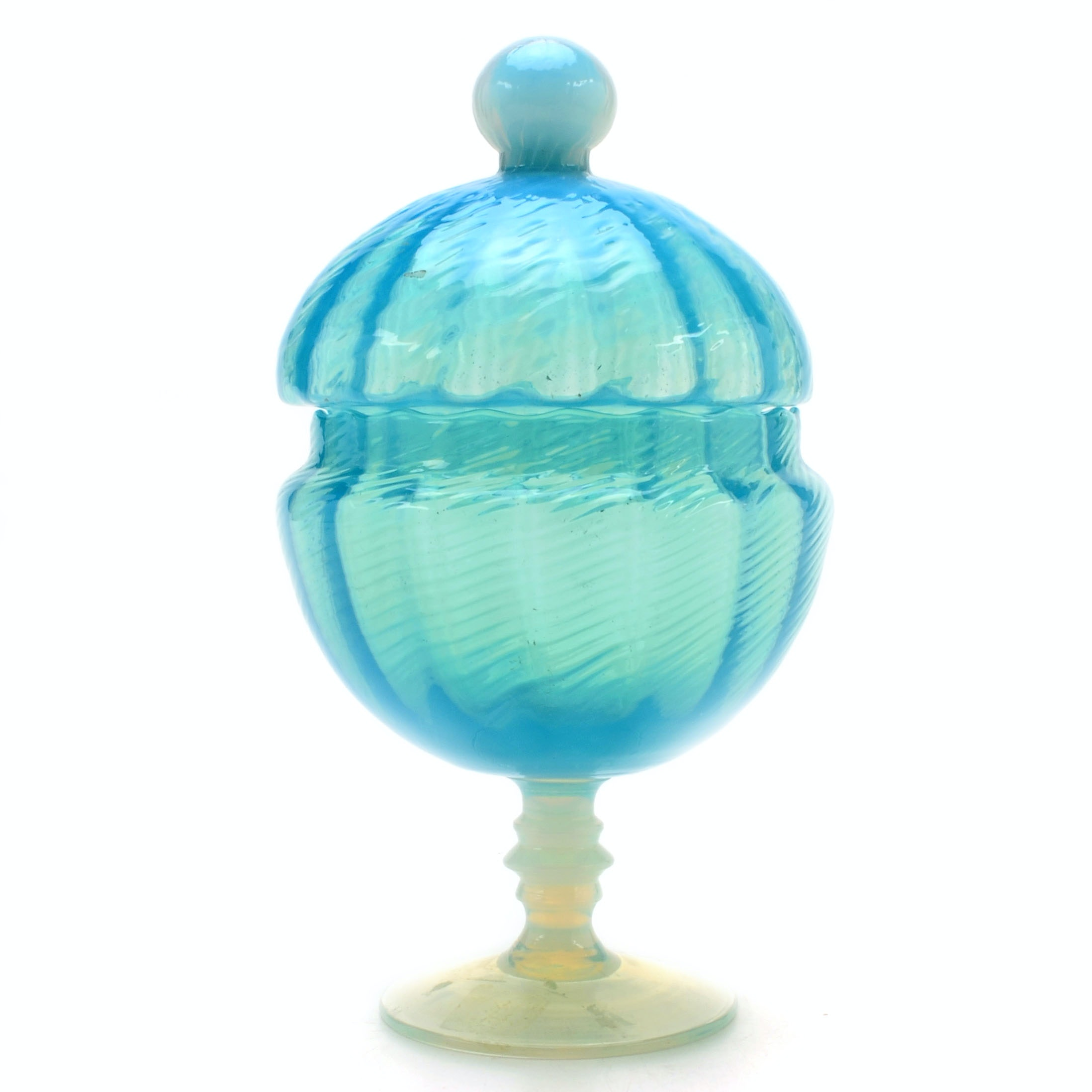 Opalescent Blue Lidded Compote
