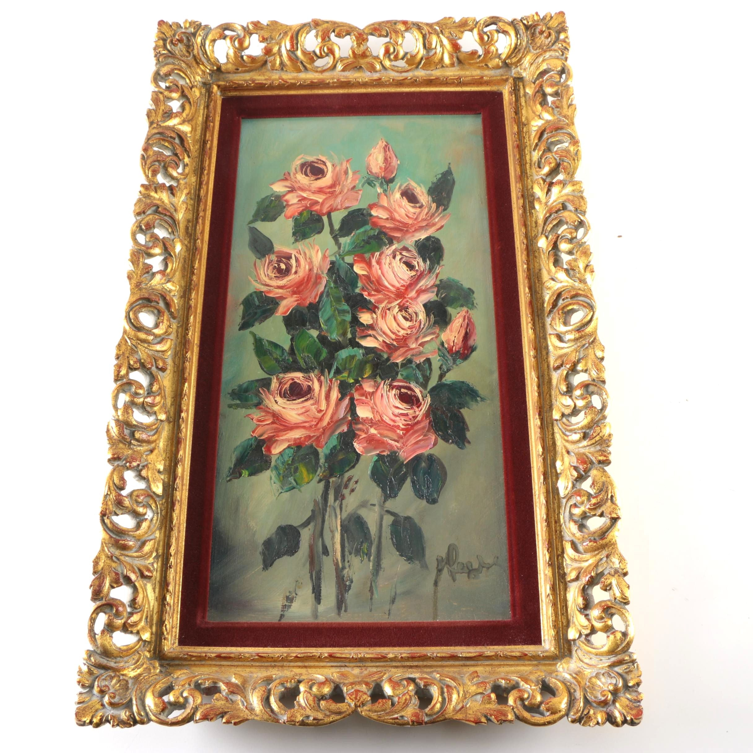 Oil Painting on Board of Roses
