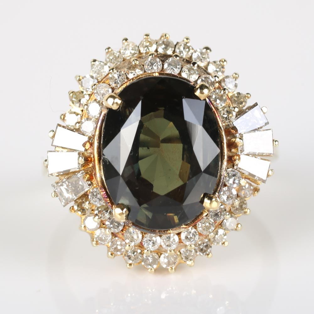 14K Yellow Gold 5.75 CTS Color Change Sapphire and Diamond Ring