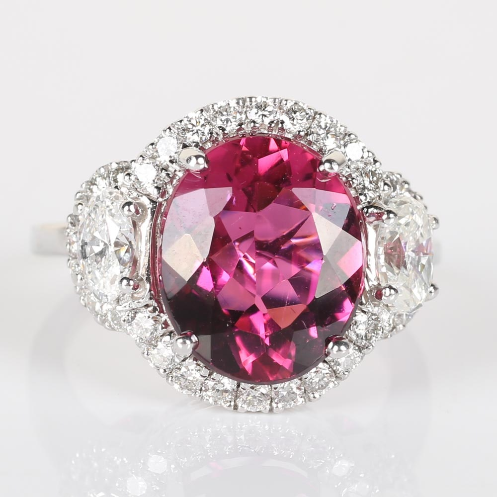 18K White Gold, 5.88 CTS Pink Tourmaline and Diamond Cocktail Ring