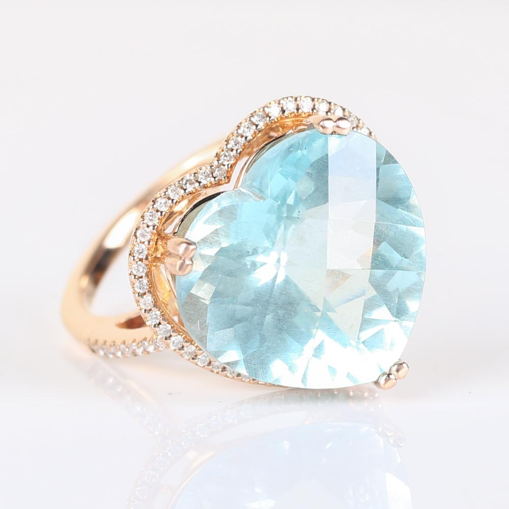14K Rose Gold and 11.25 CTS Aquamarine and Diamond Ring
