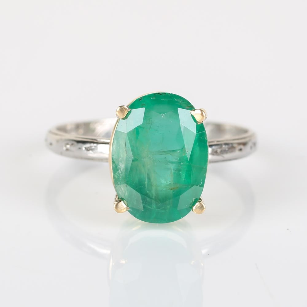 Platinum 3.49 CTS Emerald Ring with 18K Yellow Gold Prongs