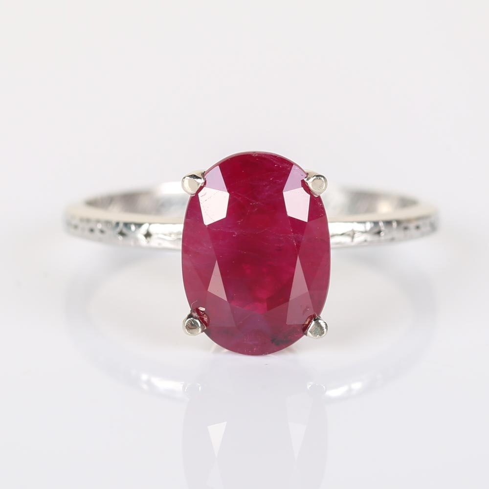 Platinum and GIA Certified 3.23 CTS Ruby Ring