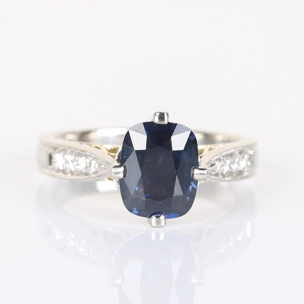 Platinum 2.00 CTS Sapphire and Diamond Ring with 18K Yellow Gold Accents