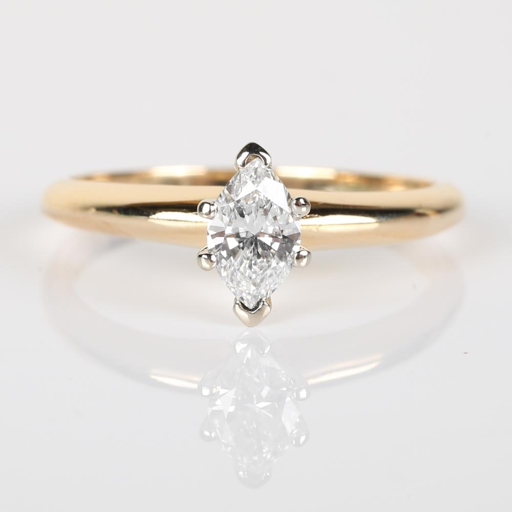 18K Yellow Gold Marquise Diamond Solitaire Ring