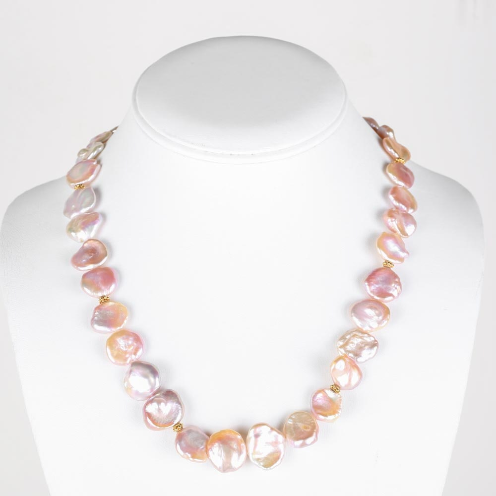18K Yellow Gold and Freshwater Pink Pearl Necklace