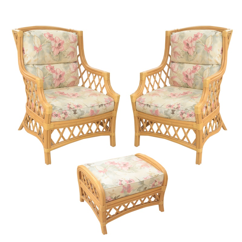 Rattan Chairs With Ottoman By Trade Winds ...