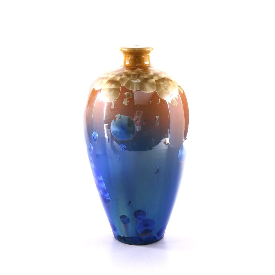 Wen Shawn Crystalline Glazed Wish Vessel Vase Ebth