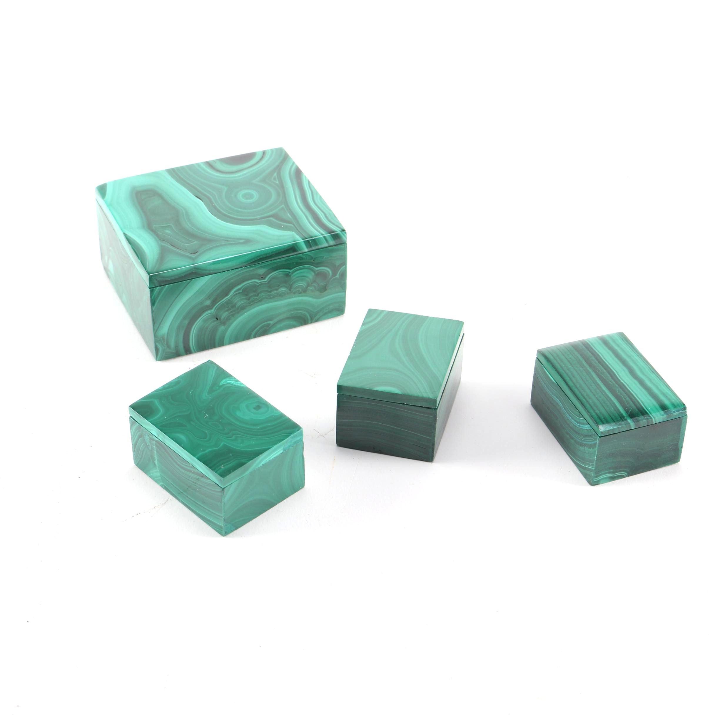 Malachite Trinket Boxes