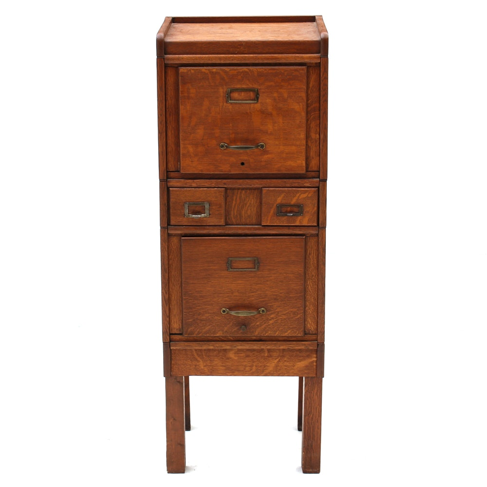 Vintage Stacking Oak File-on-Stand