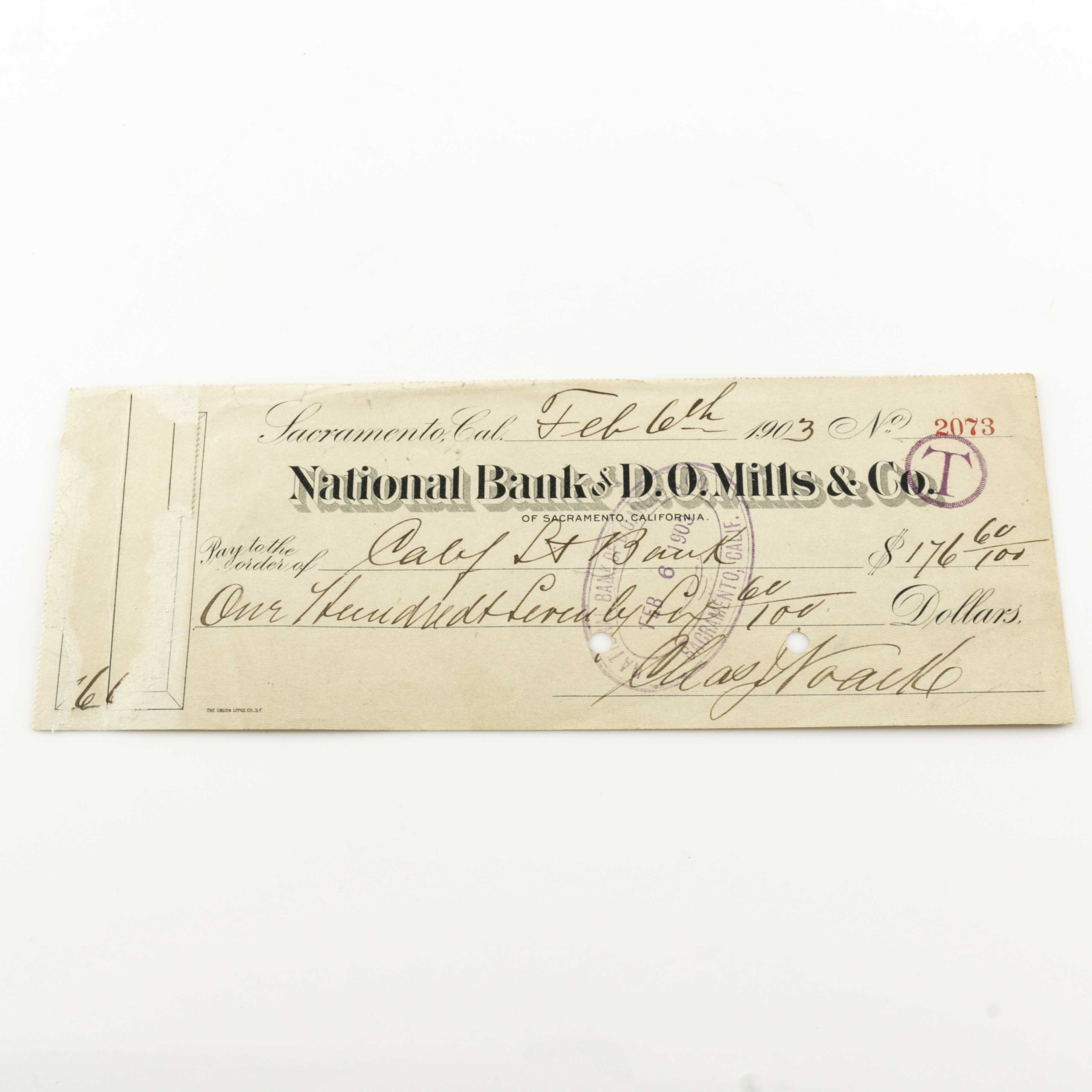 Cancelled Check from the National Bank of D.O. Mills & Co.
