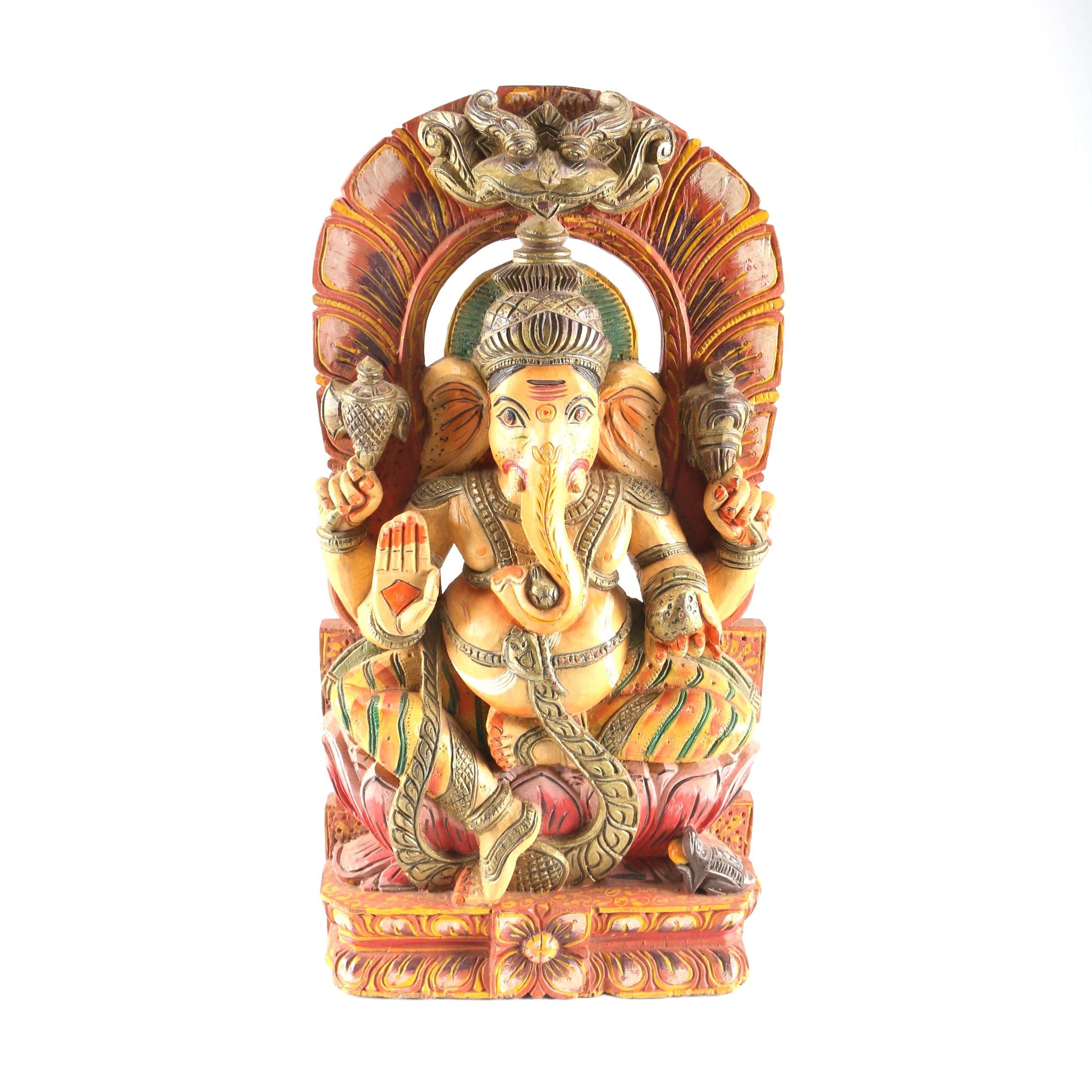 Wood Carving of Hindu Deity Ganesha