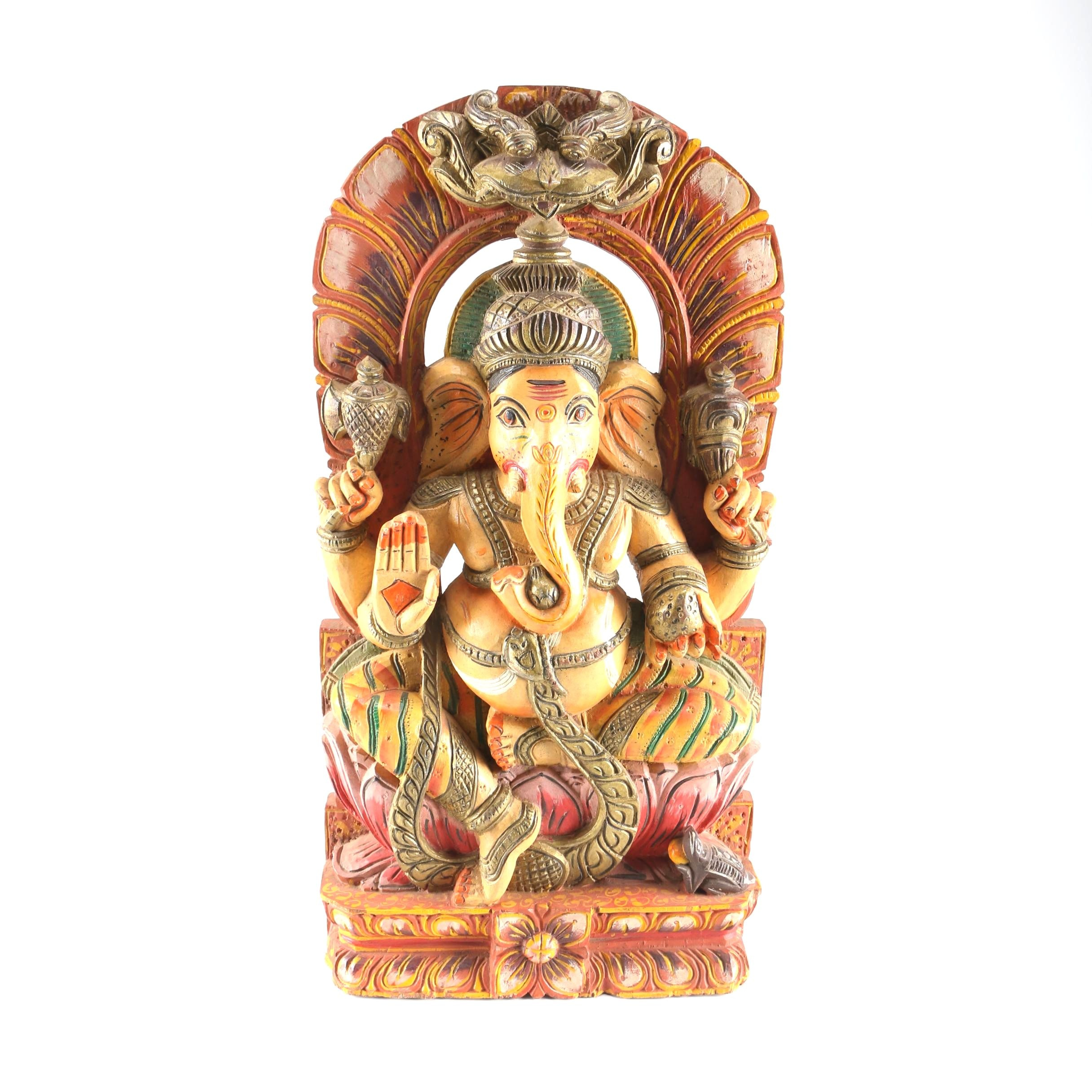 Wood Carving of Hindu Deity Ganesha