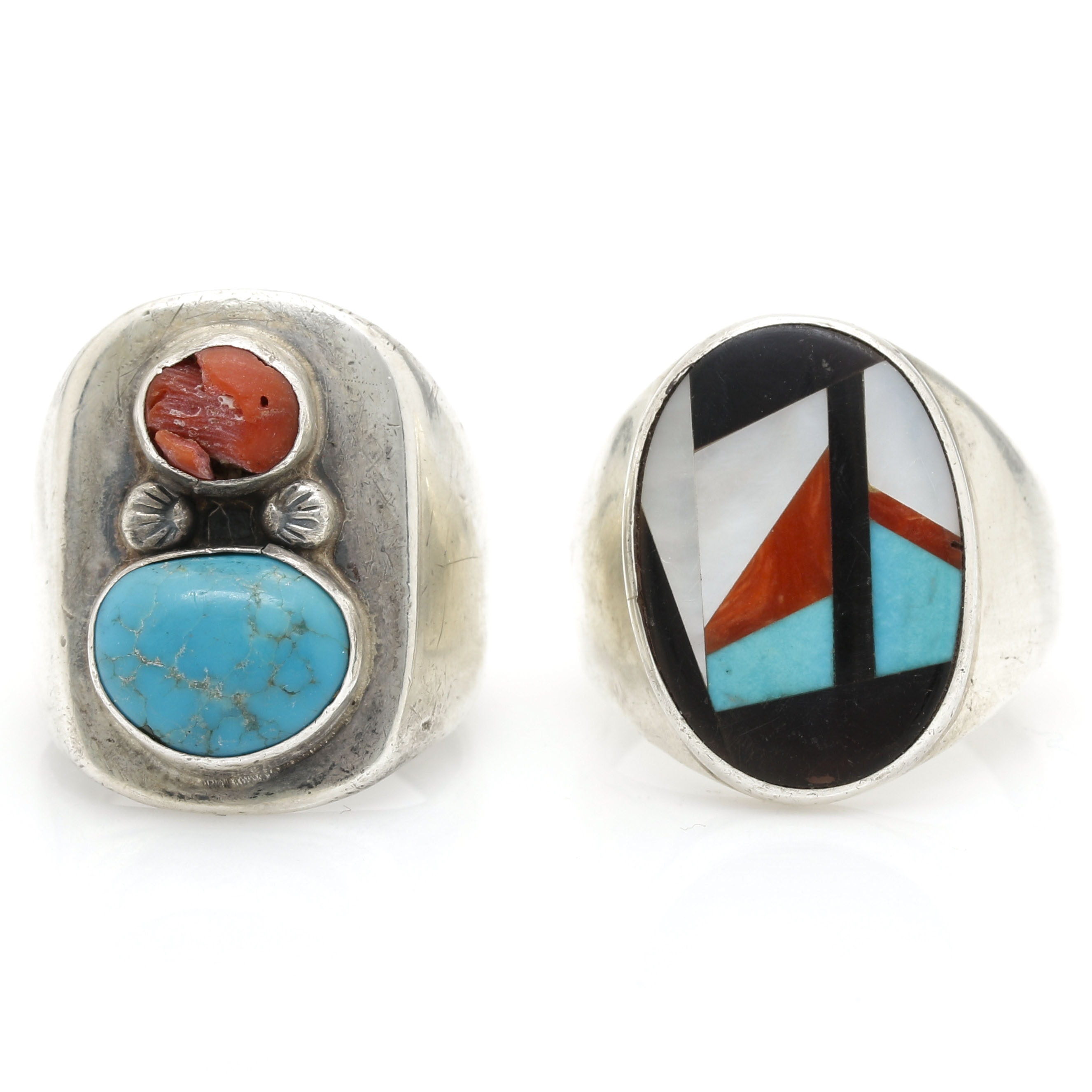 Sterling Silver Gemstone Rings Featuring Zuni Linda Eustace