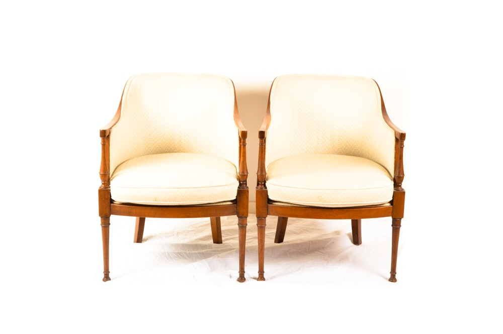Pair of Barrel Back Armchairs