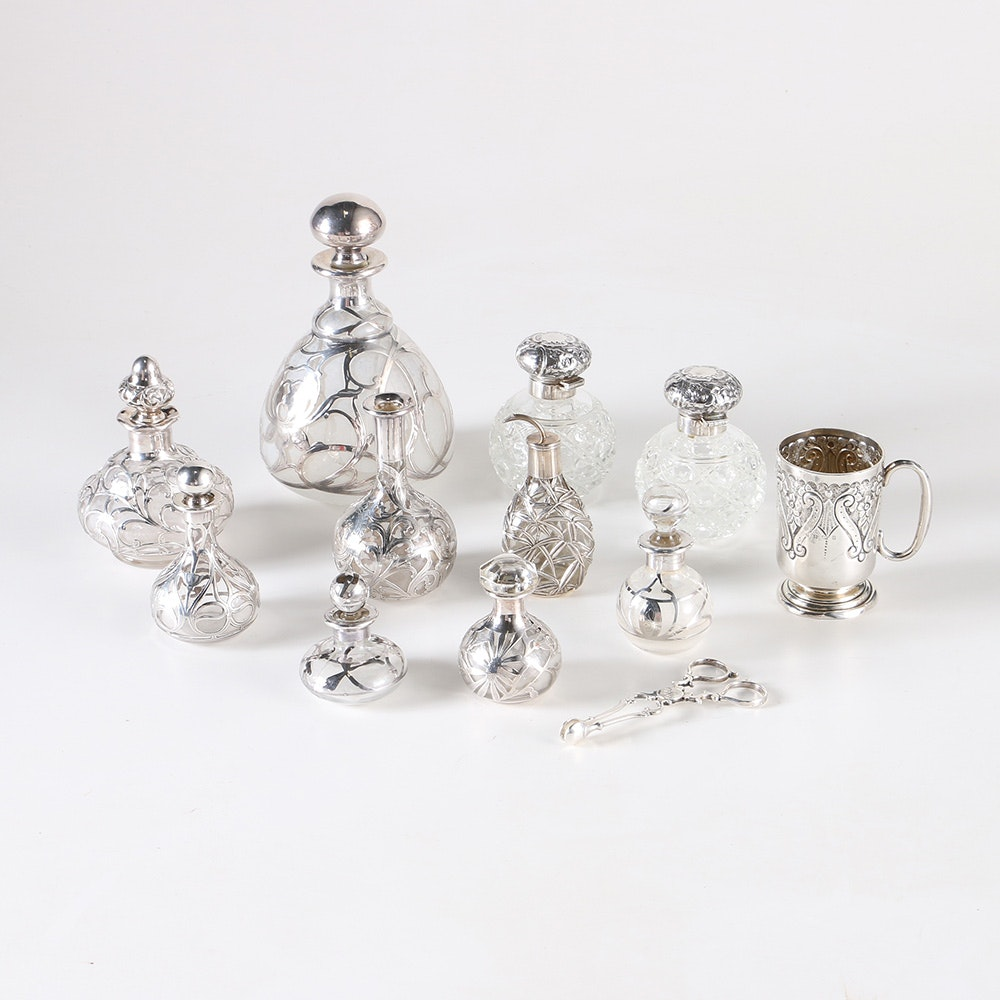 Glass and Crystal Vessels With Sterling Accents