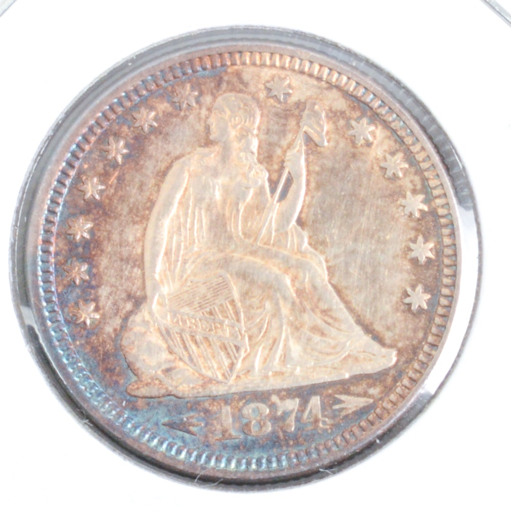 1874 Seated Liberty Silver Quarter